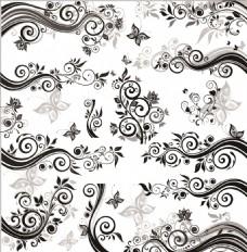 黑白印花图案矢量素材