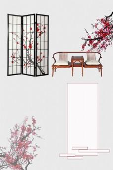 中国风家居花朵背景
