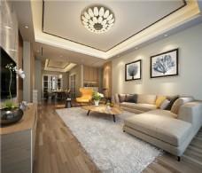 简约室内客厅沙发背景墙效果图