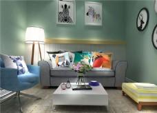 现代简约小清新家居休息室装修效果图