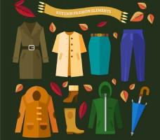 简约9款创意秋季服饰与配饰矢量图
