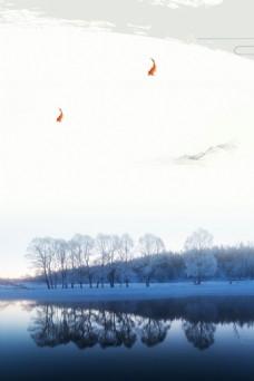 小清新森林湖泊背景