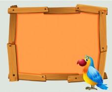 矢量橙色创意?#26223;?#36793;框鹦鹉背景素材