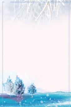 浪漫雪花森林背景