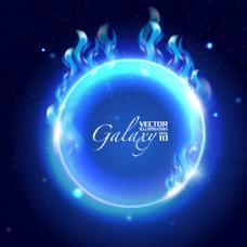 星光闪耀深蓝星空矢量素材背景