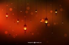 灯笼橙色抽象背景矢量素材