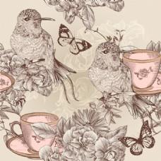 欧式小清新手绘水彩画线描请柬婚礼贺卡