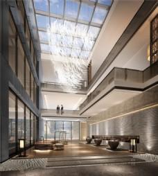 现代时尚酒店大厅褐色地毯工装装修效果图