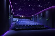 现代蓝色电影院观众席装修实景图