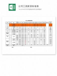 公司工资薪资标准表