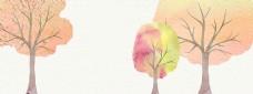 手绘彩色大树banner背景素材