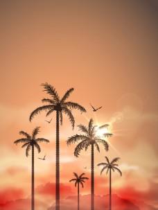 矢量文艺复古椰树晚霞背景