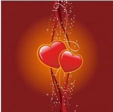 浪漫红心花纹桔色渐变背景