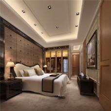 现代时尚卧室亮面床头柜室内装修效果图
