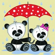 浪漫爱情熊猫卡通矢量素材