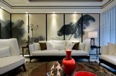中式时尚室内客厅沙发背景墙效果图