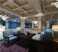 酒店蓝色沙发效果图