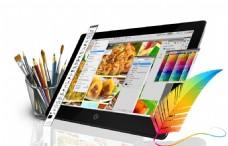 平面设计创意显示器画笔免抠png透明素材