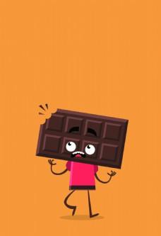 被咬过的巧克力海报背景素材