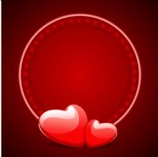 浪漫红心圆形背景