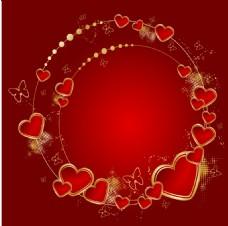 浪漫红色心形金边背景