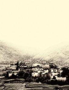 藏族建筑白藏房风景素描速写黑白纹理特效