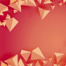 红色锥体几何抽象海报模板