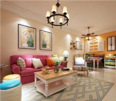 美式室内客厅沙发装修效果图