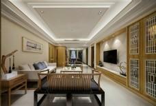 中式时尚室内客厅沙发效果图