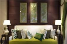 中式室内沙发背景墙装修效果图