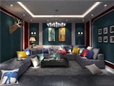 现代简约家居休息室装修效果图