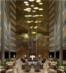 酒店华丽大厅吊灯效果图