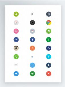 圆角带阴影社交媒体图标