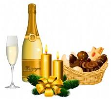 香槟酒圣诞元素免抠png透明素材