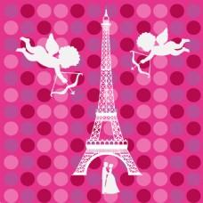 手绘巴黎铁塔天使背景