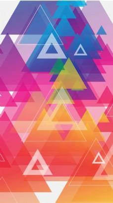 时尚炫彩三角形矢量海报背景模板