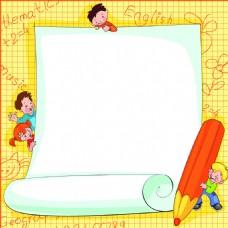 黄色手绘边框卡通矢量素材