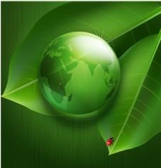 绿色地球叶子矢量背景