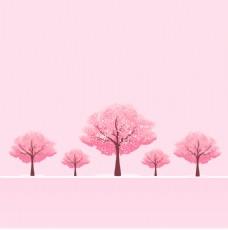 粉红色的樱桃树矢量背景