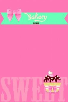 粉色纸杯蛋糕甜品海报背景