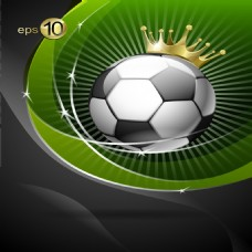 矢量足球皇冠绿色背景素材