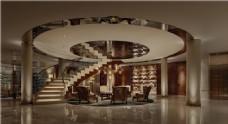 酒店大厅圆形瓷砖效果图
