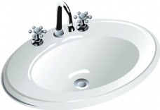 椭圆形陶瓷盥洗盆免抠png透明素材
