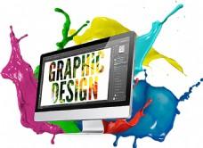显示器彩色颜料创意图免抠png透明素材