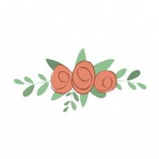 手绘信纸花透明装饰图案