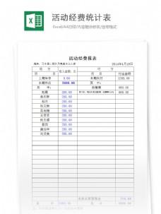 活动经费统计表