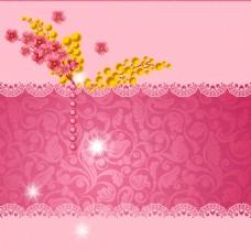 浪漫玫红花朵花纹背景