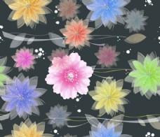 黑底梦幻彩色矢量花朵