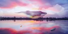 鲸鱼意境手绘背景墙