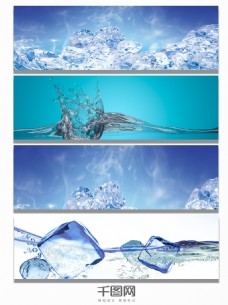 冰爽冰山冰块海报背景